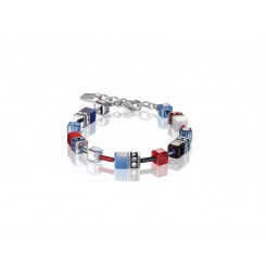 COEUR DE LION Geo Cube Scarlet Red, White and Denim Blue Bracelet 2838/30-0703