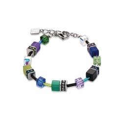 COEUR DE LION Geo Cube Warm Purple & Bright Green Bracelet 2838/30-1554