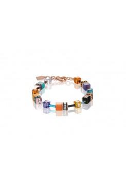 COEUR DE LION Geo Cube Bright Turquoise, Purple & Orange Bracelet 2838/30-1575