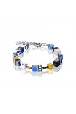 COEUR DE LION Geo Cube Sky Blue & White Bracelet 2838/30-0701