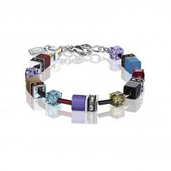 COEUR DE LION Geo Cube Vintage Khaki, Turquoise and Purple Bracelet 2838/30-1560