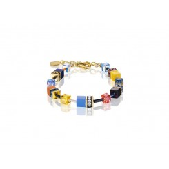 COEUR DE LION Geo Cube Sky Blue, Yellow and Black Bracelet 2838/30-1572