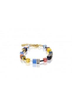 COEUR DE LION Geo Cube Sky Blue, Yellow and Black Bracelet 2838/30-1572