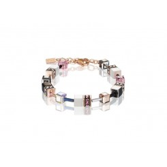 COEUR DE LION Geo Cube Pink, White, Silver and Black Bracelet 4013/30-1920