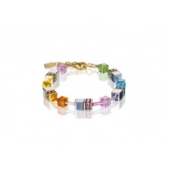 COEUR DE LION Geo Cube Soft Rainbow, Hematite and Gold Bracelet 4015/30-1522