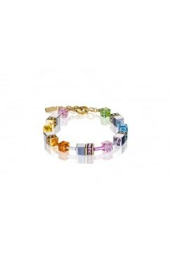 COEUR DE LION Geo Cube Soft Rainbow, Hematite and Gold Bracelet 4015/30-1522