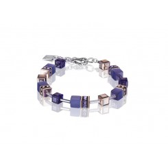 COEUR DE LION Geo Cube Rose Gold and Amethyst Purple Bracelet 4016/30-0800