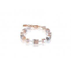 COEUR DE LION  Geo Cube Botswana Agate and Blush Champagne Bracelet 4017/30-0230