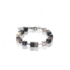 COEUR DE LION Geo Cube Rose Gold and Onyx Bracelet 4018/30-1300