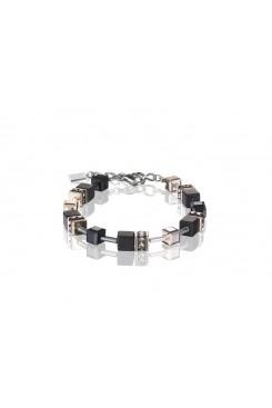 COEUR DE LION Geo Cube Rose Gold and Onyx Bracelet 4018/30-1300
