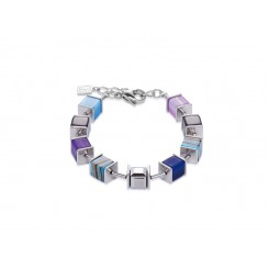 COEUR DE LION Geo Cube Swarovski Crystals, Malachite, Turquoise and Purple Bracelet 4747/30-0708