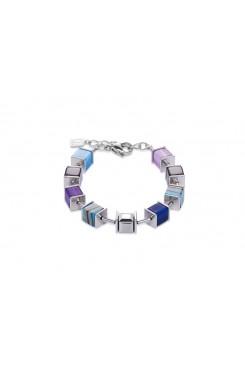 COEUR DE LION Geo Cube Swarovski Crystals, Malachite, Turquoise and Purple Bracelet 4747/30-0708