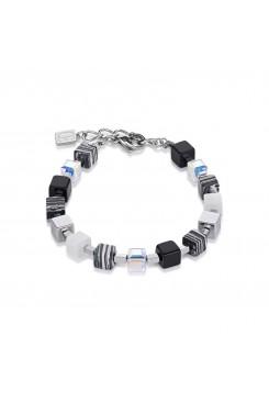 COEUR DE LION Geo Cube Swarovski Crystals & Malachite Small Black-White Bracelet 4882/30-1314