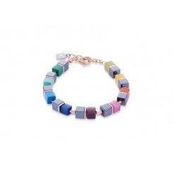 COEUR DE LION Geo Cube Haematite Multi Colour Bracelet 4927/30-1520