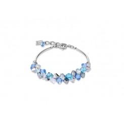 COEUR DE LION Geo Cube Turquoise, Blue Crystal & Rose Gold Bracelet 4938/30-0720