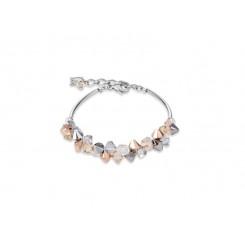 COEUR DE LION Geo Cube Elegant Champagne & Rose Gold Crystal Bracelet 4938/30-1631