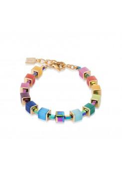 COEUR DE LION Geo Cube Multicolour Hematite Bracelet 4947/30-1535