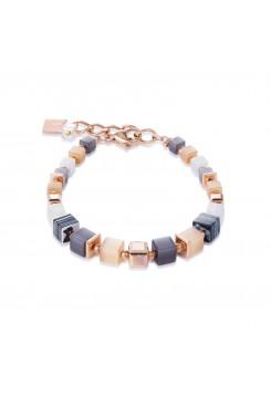 COEUR DE LION Geo Cube Malachite Rose & Champagne Bracelet 4963/30-1523