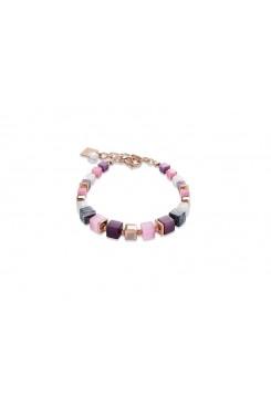 COEUR DE LION Geo Cube Malachite Soft Pink Aubergine Bracelet 4963/30-1908