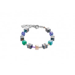 COEUR DE LION Geo Cube Emerald Green Purple Hematite Bracelet 4964/30-0508
