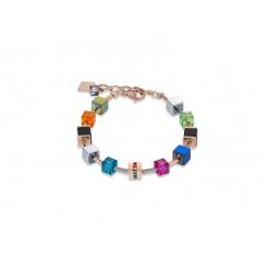 COEUR DE LION Geo Cube Multicolour Onyx Rose Gold Bracelet 4980/30-1500