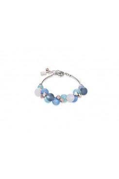 COEUR DE LION Muted Blue Tone Matt Spheres Bracelet 4994/30-0607