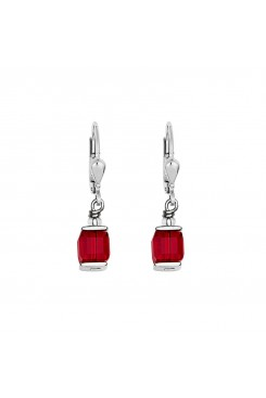 COEUR DE LION Cube Drop Earrings with Swarovski Crystals Red 0094/20-0300