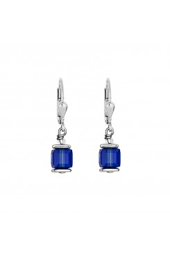 COEUR DE LION Cube Drop Earrings with Swarovski Crystals Blue 0094/20-0700