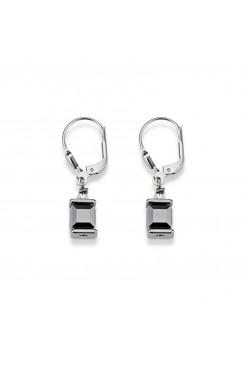 COEUR DE LION Cube Drop Earrings with Swarovski Crystals Grey 0094/20-1700