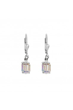 COEUR DE LION Cube Drop Earrings with Swarovski Crystals White 0094/20-1800