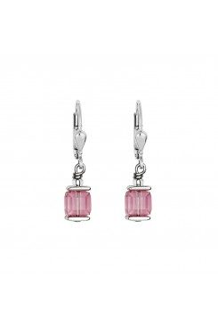 COEUR DE LION Cube Drop Earrings with Swarovski Crystals Pink Gold 0094/20-1920