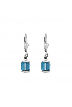 COEUR DE LION Cube Drop Earrings with Swarovski Crystals Turquoise 0094/20-2000