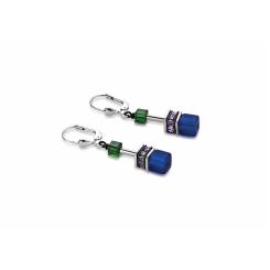 COEUR DE LION Geo Cube Warm Purple & Bright Green Earrings 2838/20-1554