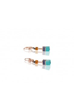 COEUR DE LION Geo Cube Bright Turquoise, Purple & Orange Earrings 2838/20-1575