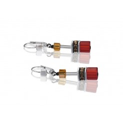 COEUR DE LION Geo Cube Warm Orange and Red Earrings 2838/20-0302