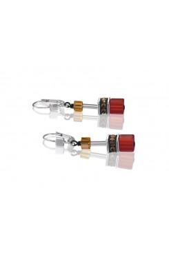 COEUR DE LION Geo Cube Warm Orange and Red Earrings 2838/20-0302