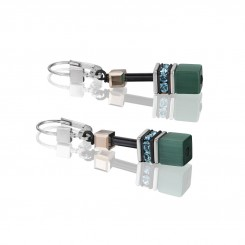 COEUR DE LION Geo Cube Multicolour Green Petrol Earrings 2838/20-0537