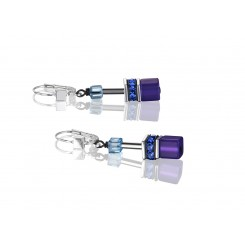 COEUR DE LION Geo Cube Navy Blue Purple Earrings 2838/20-0708