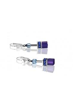 COEUR DE LION Geo Cube Navy Blue Purple Earrings 2838/20-0708