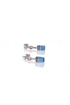 COEUR DE LION Geo Cube Pink, Navy and Sky Blue Earrings 2839/21-0719