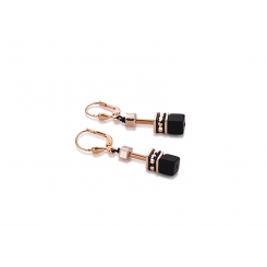 COEUR DE LION Geo Cube Onyx and Rose Gold Earrings 4015/20-1328