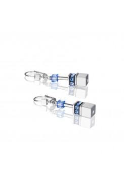 COEUR DE LION Geo Cube Silver & Cool Blue Earrings 4015/20-0705