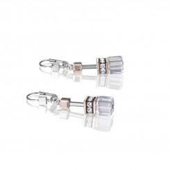 COEUR DE LION Geo Cube Clear & Rose Gold Earrings 4015/20-1822