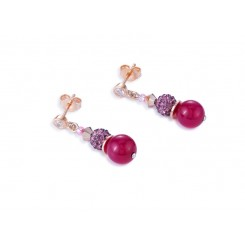 COEUR DE LION Swarovski Pearls, Agate Magenta Pink Earrings 4864/21-0400