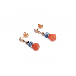 COEUR DE LION Swarovski Pearls Rock Crystal Orange Blue Earrings 4864/21-2002