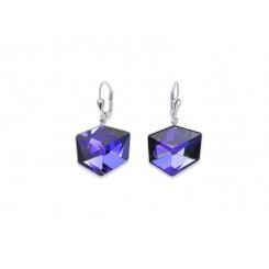 COEUR DE LION Swarovski Cube Pendant Vibrant Purple Earrings 4889/20-0800