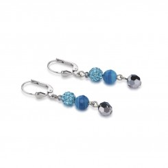 COEUR DE LION Multirow Swarovski Crystals & Striped Agate Turquoise Earrings 4895/20-0600