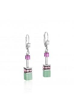 COEUR DE LION Geo Cube Amethyst Aventurine Rose Quartz Howlite Earrings 4905/20-0840