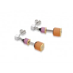 COEUR DE LION Geo Cube Polaris Soft Orange Pink Earrings 4909/21-0219