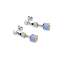 COEUR DE LION Geo Cube Polaris Soft Blue Turquoise Earrings 4909/21-0737